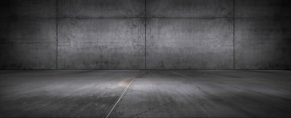 Obraz Dark Floor Background Concrete Wall Empty Stage Backdrop for Product Placement and Presentation - fototapety do salonu