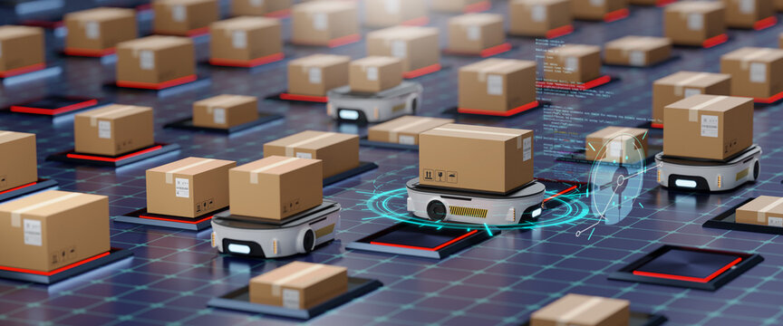 Concept of smart factory and 5G for industrial. Autonomous Robotic transportation or Automated guided vehicle systems(AGV) operating transfer box in automated warehouses.3d rendering and illustration
