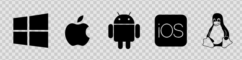 OS black logo set : Windows, Mac OS, Android, Apple IOS, Linux. Modile desktop logos on transporent background for you design. OS logotype icons vector collection EPS 10
