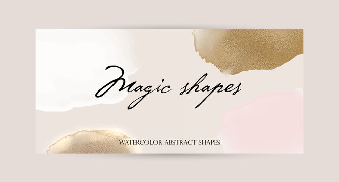 Facebook cover or web page advertising banner. watercolor abstract splatter pink gold shiny wide vertical vector background template. for beauty, wedding, make up, jewelry. luxury romantic feminine