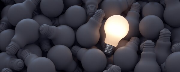 Obraz Big ideas. Illuminated light bulb among the rest of the unlit bulbs.  - fototapety do salonu