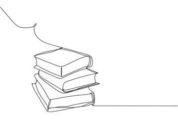 Continuous one line of stack of books in silhouette on a white background. Linear stylized.Minimalist.