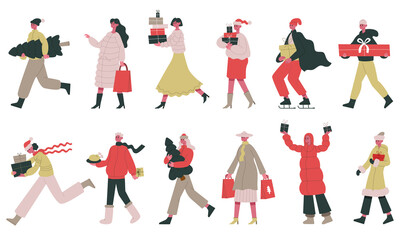 Christmas people. Happy Christmas or new year celebrate characters, people with present boxes vector illustration set. Christmas holiday preparation