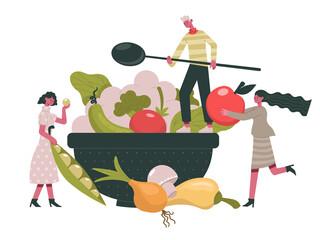 Vegetarian food. People cook healthy organic diet food, greens and vegetables healthy ingredients cartoon vector illustration. Organic vegetarian menu