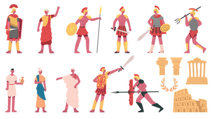 Ancient roman empire. Ancient roman characters, emperor, centurions, soldiers and plebs cartoon vector illustration set. Rome empire symbols