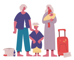 Homeless family. Poor, hungry and dirty father, mother and kids, refugee stateless family cartoon vector illustration. Family in crisis situation