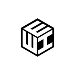 Obraz WIE letter logo design with white background in illustrator, vector logo modern alphabet font overlap style. calligraphy designs for logo, Poster, Invitation, etc. - fototapety do salonu