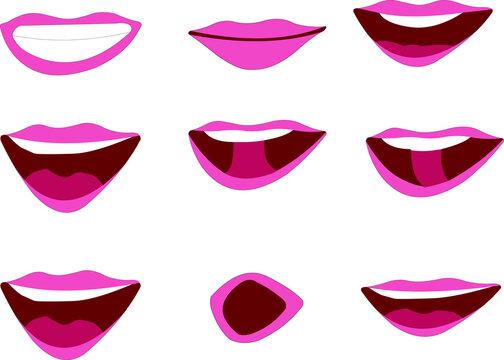 Lip sync different position icon vector artwork