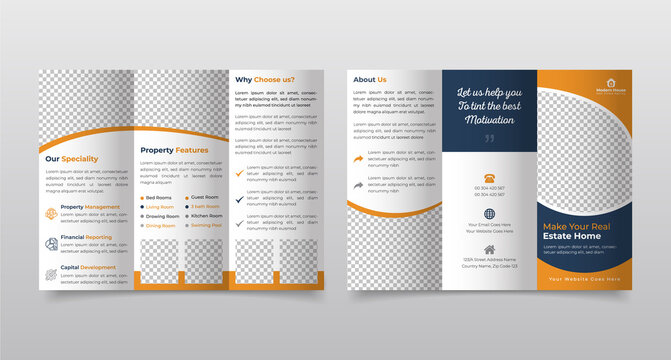 Brochure design template,  Real Estate Tri fold brochure design. Construction, Real Estate, Builders Company Trifold Brochure, Leaflet, Poster, annual report, booklet