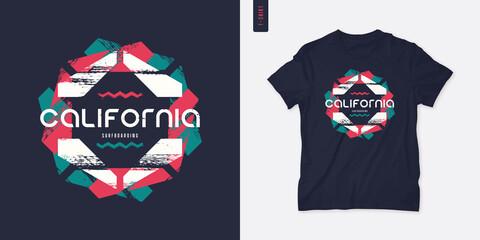 Obraz California graphic t-shirt design, geometric print, vector illustration - fototapety do salonu