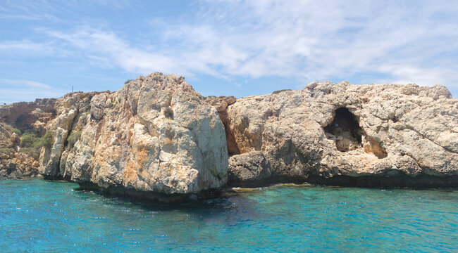 Pirate caves and turquoise sea near Protaras. Cyprus.