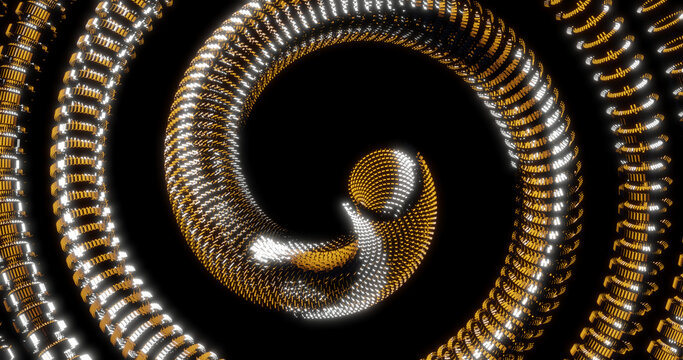 Render with a yellow futuristic spiral tube