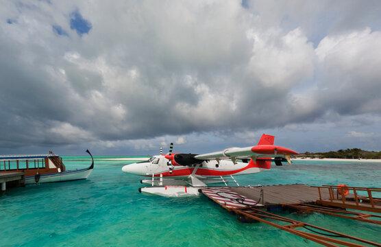 Seaplane in the Maldives Sea
