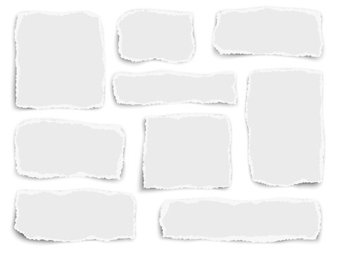 Set of paper different fragments scraps isolated on white. Vector illustration.