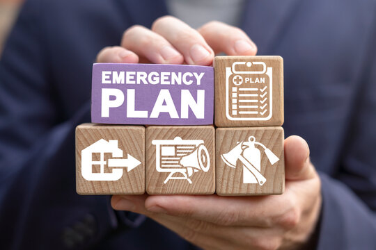 Concept of Emergency Preparedness Plan. Business Evacuation Training concept. Emergency preparedness instructions for safety.