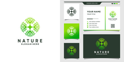 Nature tree logo with modern style concept and business card design Premium Vector