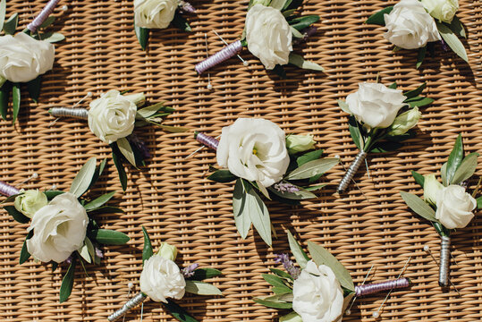 Corsages with white flowers