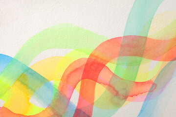 Abstract watercolor and acrylic wave painting. Color canvas texture horizontal background.