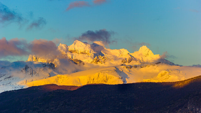 Winter in Patagonia: sunrise over a snow covered mountain range