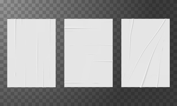 Set of bad glued papers realistic vector illustration isolated on transparent background.