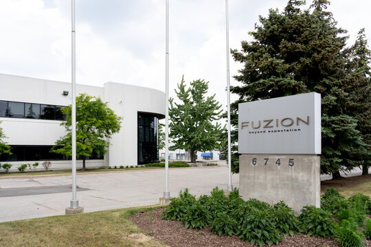 Mississauga, On, Canada - June 13, 2021: Fuzion Flooring headquarters in Mississauga, On, Canada. Fuzion Flooring is a Canadian company carry Carpeting, Laminate Flooring, LVT/LVP, Wood Flooring.