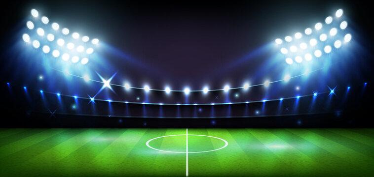 Football Arena stadium at night lights World Cup Vector illustration