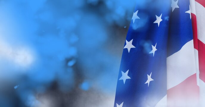 Composition of blue flare smoke and american flag