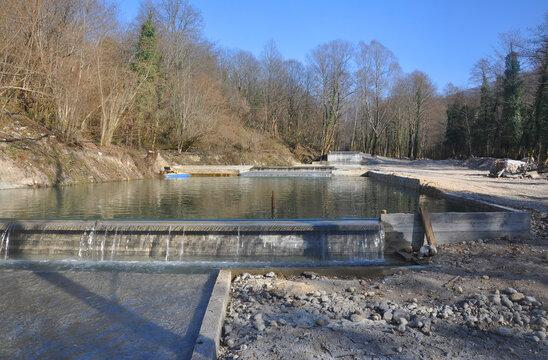 Artificial ponds in the Khashupse river. Abkhazia