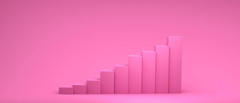 3D render illustration of bar graph