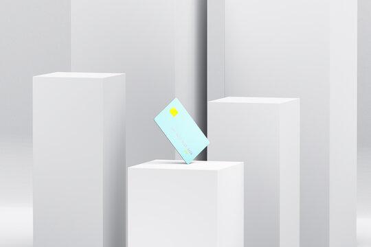Blue credit card on product display podium