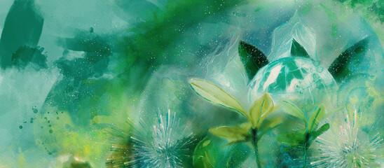 Fototapeta Green planet. Ecology concept. Watercolor obraz