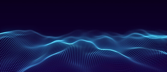 Abstract wave with moving dots. Flow of particles. Cyber technology illustration. 3d rendering