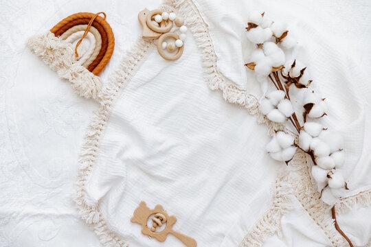 Still life background of cute newborn accessories on white background