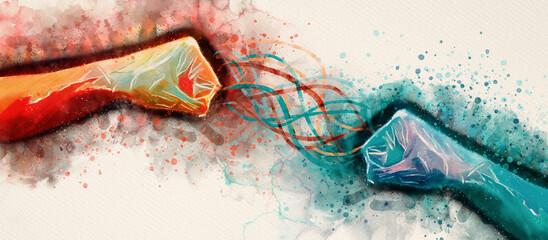 Watercolor hands. Conflict concept. Design element