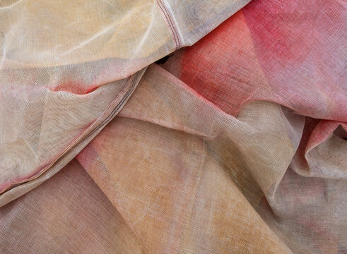 Detail of folded synthetic fabric