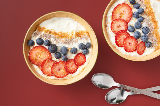 Overhead View: Two Bowls of Yogurt and Fruit