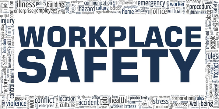 Workplace safety vector illustration word cloud isolated on a white background.
