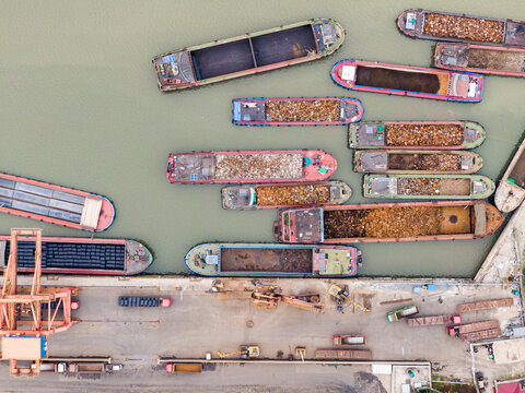 Top view of water port with ship