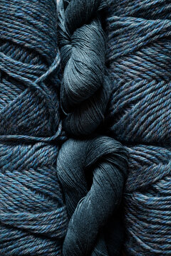 Closeup of yarn textures in steel blue