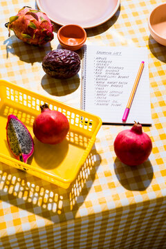 Food Shopping List with fruit