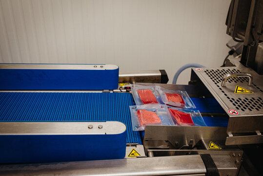 meat packaging in meat factory