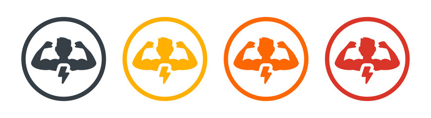 Man have strong muscles icon. Vector illustration - fototapety na wymiar