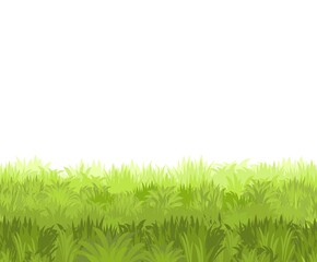 Lawn. Seamless illustration. Grass close-up. Green summer landscape. Rural pasture meadow. Cartoon style. Flat design. Isolated on white background. Vector art