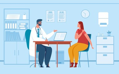 Doctor consultation. Physician consulting or diagnosing patient in office. Woman at doctor medical appointment in hospital vector illustration. Woman having pain in shoulder, meeting at clinic - fototapety na wymiar