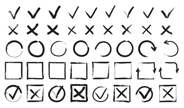 Hand drawn checkmarks. Black doodle v marks, checklist boxes. Grunge tick and cross signs, brush stroke voting checkmark vector set. Checkbox for items list, true and false answers