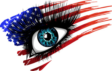 Fototapeta illustration of usa flag in beautiful female eye obraz