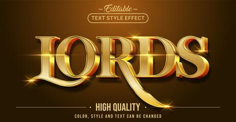 Fototapeta Editable text style effect - Lords text style theme. obraz