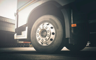 Front Semi Truck Wheels.  A Big Truck Tyres. Road Freight Transport.