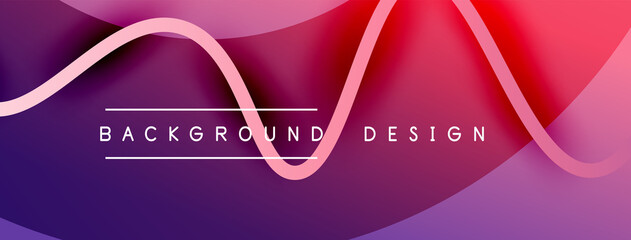 Obraz Abstract gradient background with wave line with shadow effect. Geometric composition. 3D shadow effects and fluid gradients - fototapety do salonu