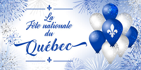 Obraz Quebec's National Holiday. Decorative French typescript La Fete Nationale du Quebec. Day of Quebec creative congrats concept. Isolated graphic design template. St. Jean-Baptiste John The Baptist Day. - fototapety do salonu